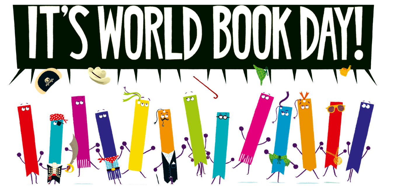 World Book Day with brightly coloured book characters