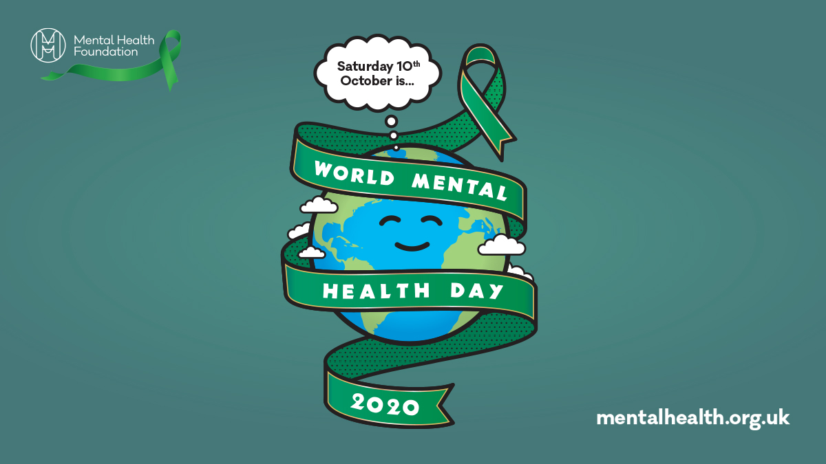 Drawing of the earth wrapped in a green ribbon with words World Mental Health Day 2020
