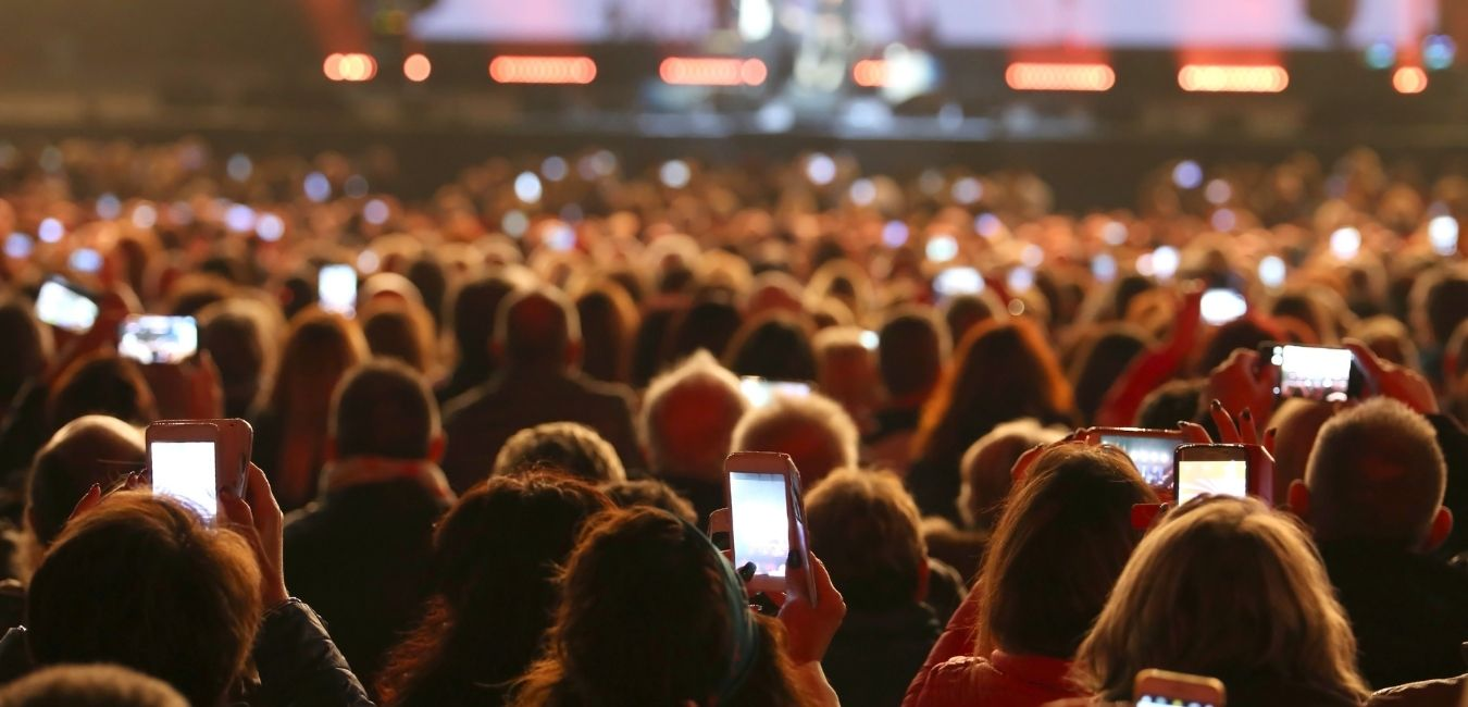 Crowd at Concert holding mobile phones