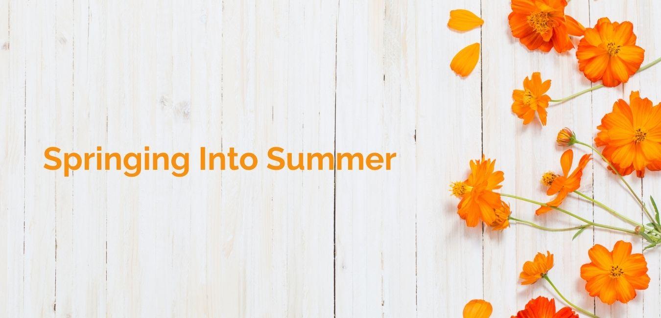 Sprining Into Summer with orange flowers on white background
